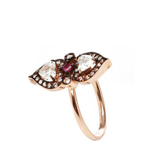 18K Rose Gold Diamond and Ruby Heart Ring by Sabine G Now Available on Moda Operandi