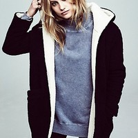 Free People Womens Reversible Cozy Hooded Jacket