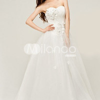 White Sweetheart Floral Organza Wedding Dress For Bride
