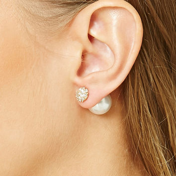 Faux Pearl Dual Studs