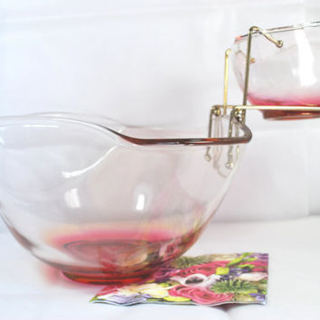 Vintage Bowl for Chips and Dips Pink , Set of Bowls in Pink Glass for Party