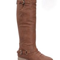 Coco Buckle Knee High Riding Boots-Tan