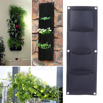 4-Pocket Planter Bag Indoor Outdoor Wall Balcony Garden Two-chamber Vertical Hanging Bag Grow Greenery Flowers Herbs Vegetables