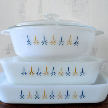 Fire King Candle Glow Baking Dishes, Loaf Pan, Casserole Dish, Open Baker, Milk Glass Ovenware, Glass Lid, 1.5 Quart , Anchor Hocking