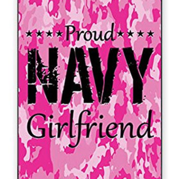 The Best Camo Pink Proud Navy Military Girlfriend Camouflage Direct UV Printed iPhone 5C Quality Hard Snap On Case for iPhone 5C - AT&T Sprint Verizon - White Case