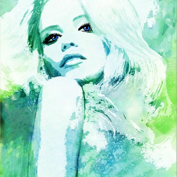SALE Aqua Blue Hues Watercolor Fashion Illustration by EstherBayer