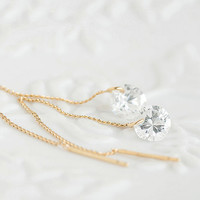 Tiny Sparkling Clear Cubic Zirconia Drop Gold Vermeil Ear Thread, Dangle Chain Earrings