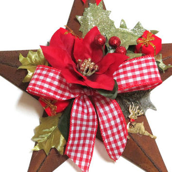 Christmas Decoration, Barn Star Christmas, Barn Star Poinsettia and Gingham Ribbon