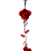 Morbid Metals 14 Gauge Red Rose Navel Barbell