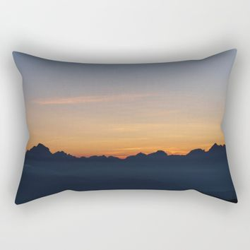 Mountain Range Silhouette Rectangular Pillow by Mixed Imagery