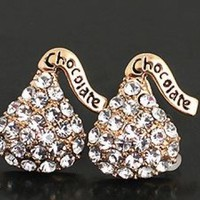 Sparkly Kisses Chocolate Rhinestone Fashion Earrings