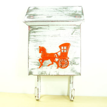 1940s Upcycled Metal Carriage Mailbox - Atomic Tangerine Orange Horse Drawn Buggy - Chic Decor