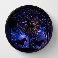 Galloping horses under starry sky Wall Clock by Laureenr