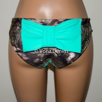 Mint and Camo Hips Bow Bikini Bottom, Full Coverage Bikini Bottoms, Fully Lined Spandex Swim Suit Bottom