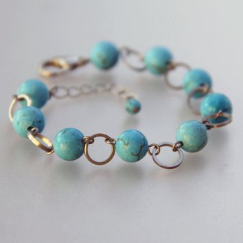 turquoise link charm Bracelet bridesmaids gifts Free US Shipping handmade Anni Designs