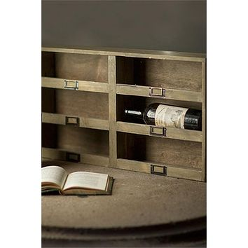Rustic Antique Style Wine Holder with Metal Label Tag Slots - 6 Bottle - Stackable