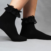 able Lovely Cute Vintage Retro Froral Lace Ruffle Frilly Ankle Socks Ladies 5 Colors SM6