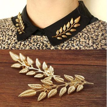 Exquisite Leaf Collar Pin Brooch, Europe and America leaves retro shirt creative golden brooch