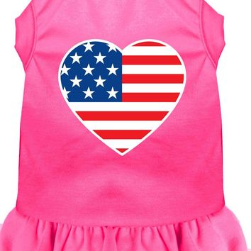 American Flag Heart Screen Print Dress Bright Pink Med (12)