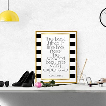 Chanel Quote Coco Chanel Poster Chanel Wall Art Chanel Printable Fashion Quote Fashionista Coco Chanel Print Girl Room Decor COCO CHANEL