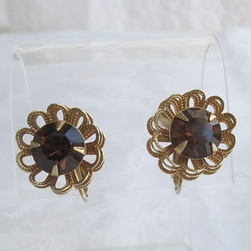Sarah Coventry MARIGOLD Cip Earrings Filigree Topaz Rhinesstone 1970s Vintage Jewelry