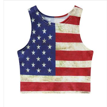 Vintage American Flag Stripe Stars Tank Top 2018 Summer T Shirt Women Crop Tops Sexy Fashion Unique O-neck fitness Crop Top Vest