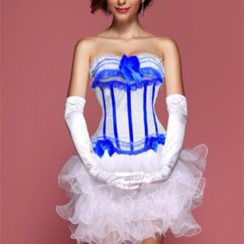 White Blue Sassy Sailor Burlesque Corset Bustier With White Ruffle Skirt