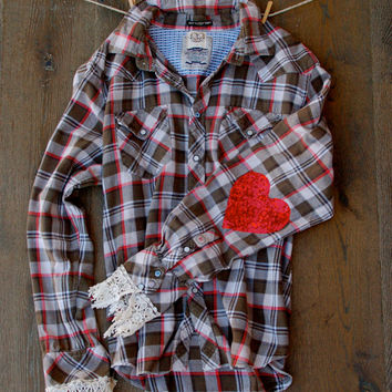 Sequin Heart Elbow Patch Flannel Shirt with Lace Cuffs Boyfriend Hipster Dazzle Flannel Shirt Boyfriend Flannel  Elbow Patches Buffalo Plaid