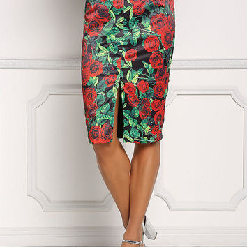 Multi Rose High Rise Slit Pencil Skirt