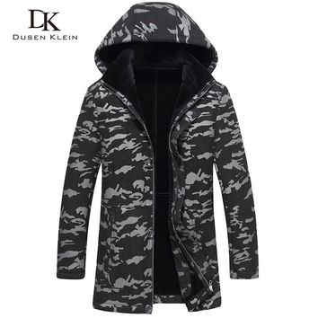 Leather Jacket men's long section detachable hat sheep leather wool liner fashion camouflage youth winter fashion coat 71C2703