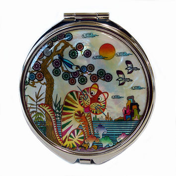 Mother of Pearl Tiger Bird Magnifying White Double Compact Cosmetic Makeup Folding Cute Handbag Purse Beauty Pocket Hand Mirror