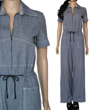 70s Wide Leg Jumpsuit Blue and White Striped Coverall Preppy Hipster 90s Style Clothing Womens Size Medium