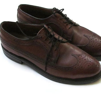 Vintage Mens Brown Wingtip Leather Shoes