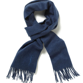 Yves Saint Laurent Men's Wool Embroidered Logo Fringed Scarf - Royal