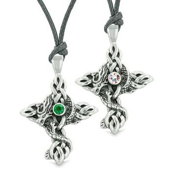 Fire Dragon Celtic Knots Protection Cross Amulets Love Couples Best Friends Green Rainbow Necklaces