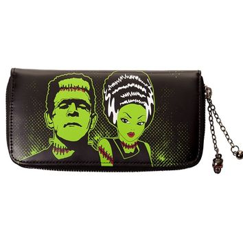 Goth Horror Monster Green Frankenstein and Bride Zip Around Wallet