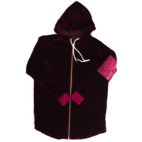 Reves Paris Minato Velour Hoody In Ruby