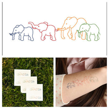 Elephants  temporary tattoo Set of 3 by Tattify on Etsy