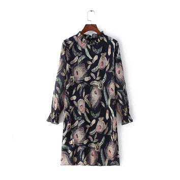 Feather Print Ruffled Collar Long Sleeve Ruched Knee-Length Dress
