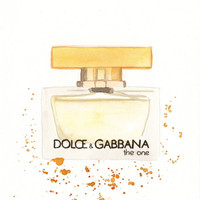 Dolce Gabbana The One Fragrance - Watercolor perfume bottle illustration