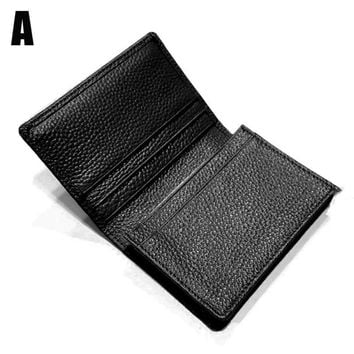Mens Expandable Leather Credit/Business Card Holder And ID Flap Wallet