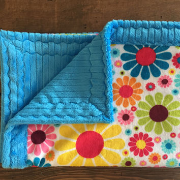 """Sunshine flowers with turquoise minky baby blanket (30"""" x 36"""")"""