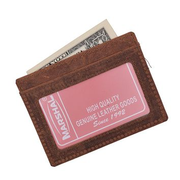 Mens Slim Vintage Genuine Leather RFID Blocking Front Pocket Wallet Thin Card Holder RFID370HTC