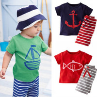 Casual Boys Anchor 2 PC Shorts and Shirt Summer Set