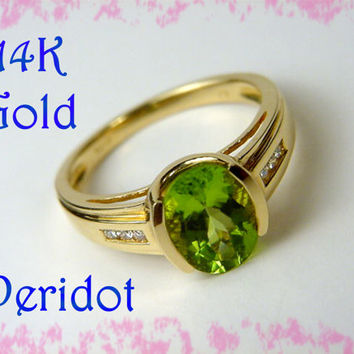 14K Gold ~ Peridot & Diamond Channel Set Cocktail 2+ Cts Ring ~ Hamptons Estate Treasure - FREE SHIPPING
