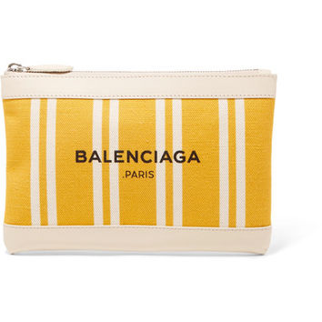 Balenciaga - Leather-trimmed striped canvas pouch