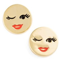 Women's kate spade new york 'tell all' emoji stud earrings - Gold-