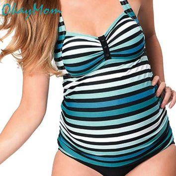 OkayMom Plus Size Stripe Maternity Swimwear Pregnancy Wear Beach Bathing Suits 2pcs Sexy Swimming Suits For Pregnant Women