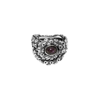Tentacle Stoned Ring with Star Ruby Center Stone