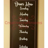 Chalkboard Menu Wood Sign, Sign for Kitchen, Sign for Dining Room, Chalkboard Menu, Menu, Weekly Menu Wood Sign, Sustainable Home Decor